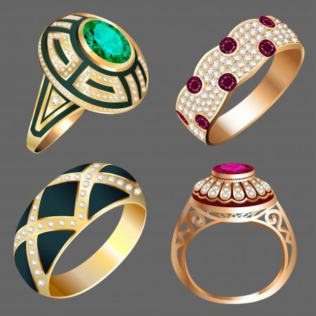 ring ruby: illustration vintage ring set with precious stones Illustration