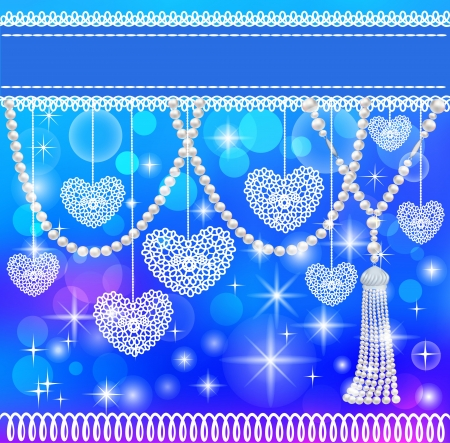 illustration background card with hearts lace and pearls Vector