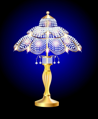 illustration of a beautiful table lamp with crystal pendants