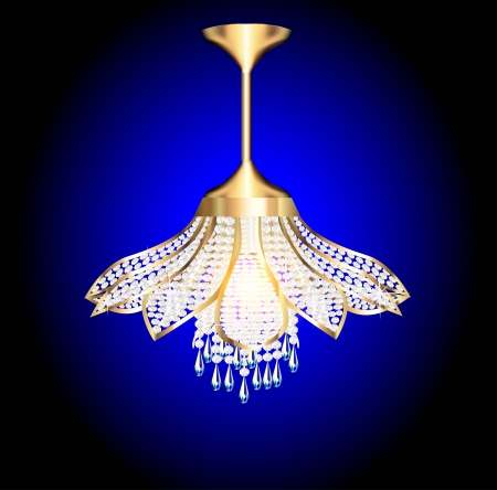 crystal chandelier: Illustration of a modern chandelier in the shape of a flower with crystal pendants