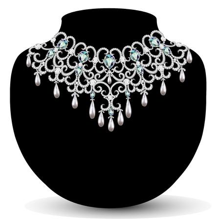 viso: collar de la ilustraci?n y los pendientes, de la boda de diamante para mujer