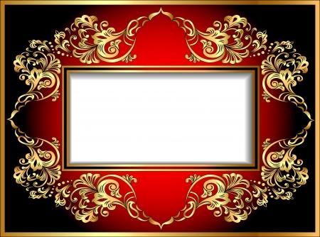 carpet design: illustration vintage background frame with gold ornaments