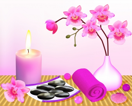 ilustración de fondo para el balneario con la orquídea y la vela