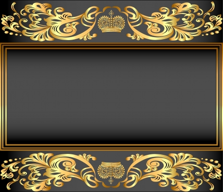 illustration vintage background frame with gold ornaments and a crown Vector