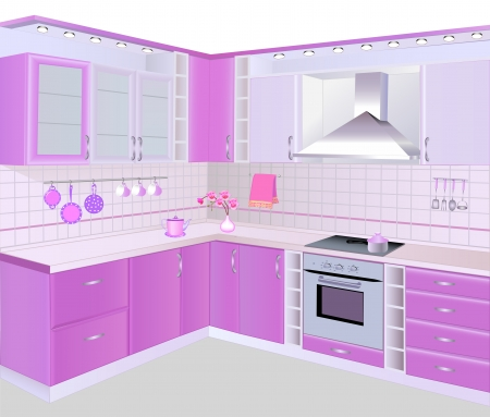 stove top: illustration kitchen interior with pink furniture and tiles Illustration