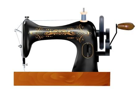 maquina de coser: ilustraci�n de una vieja m�quina de coser sobre un fondo blanco