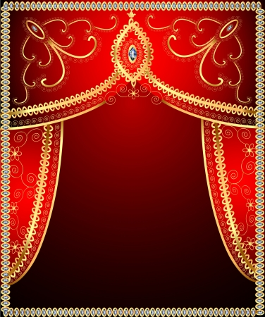 illustration background with gold ornament on the curtains Stock Vector - 22151264