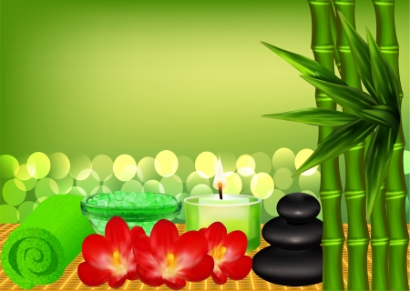 spa stones: illustration background for spa with bamboo and candle Illustration