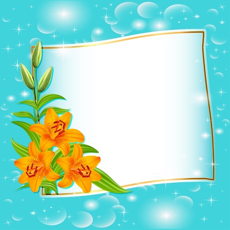 illustration background with blue flowers and patches of light Vector
