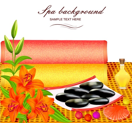 illustration background for spa with flowers and towel Illustration