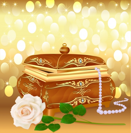 illustration background casket with pearls and a rose Illustration