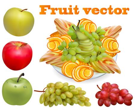main dishes: Ilustraci�n de la fruta picada pera de uva naranja manzana