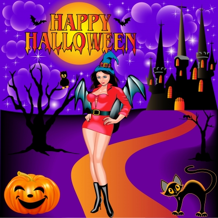 illustration of a postcard on Halloween girl castle and the cat Vector