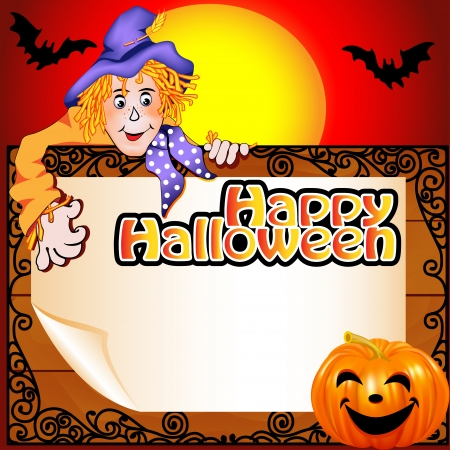autumn scarecrow: illustration background Halloween with the Scarecrow and pumpkin