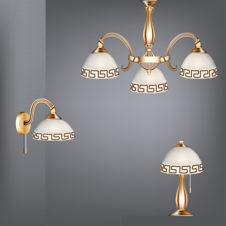 lighting equipment: illustration set table lamp chandelier and sconces in antique style