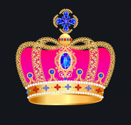illustration of royal gold crown with jewels  Illustration