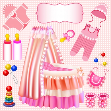 illustration of a pink set of children's cradle beanbag booties sliders Vector