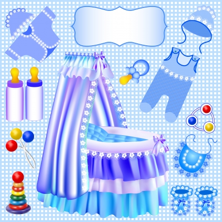 sliding colors: illustration of a blue set of childrens cradle beanbag booties sliders Illustration