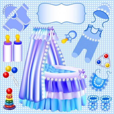 beanbag: illustration of a blue set of childrens cradle beanbag booties sliders Illustration