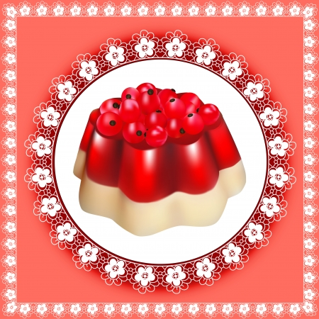 GELATIN: illustration background with fruit jelly dessert with berries