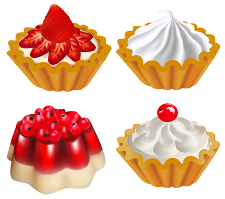 illustration of a set of fruit desserts with jelly and a cake with berries