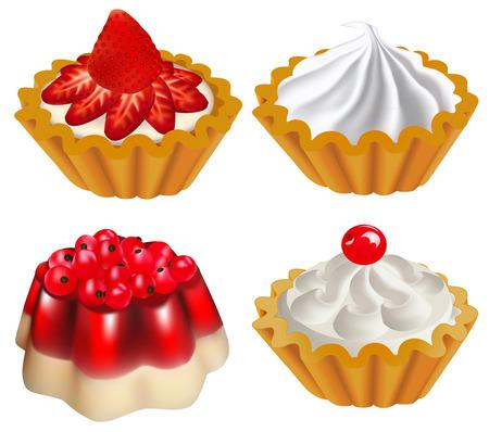 Ilustración de un conjunto de postres de frutas con gelatina y un pastel con bayas