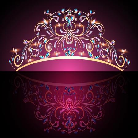 illustratie van de kroon tiara vrouwen goud met edelstenen