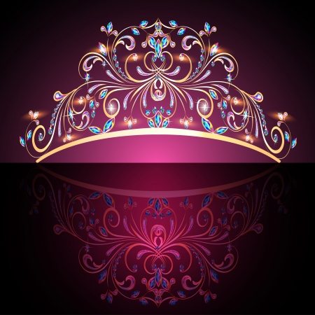 diamond shaped: illustration of the crown tiara womens gold with precious stones