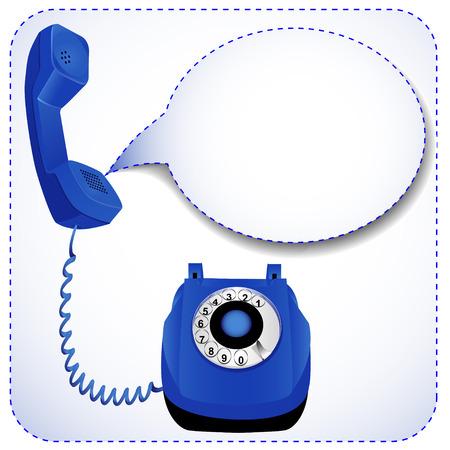 cable telefono: Teléfono de la ilustración con el tubo levantado para mensajes