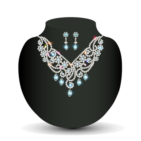 diamond jewellery: illustration of a Golden necklace  female with white precious stones