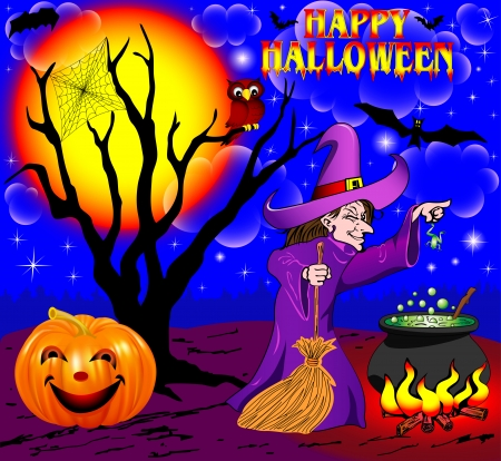 bewitchment: illustration background Halloween with the boiler of a tree and a sorceress Illustration