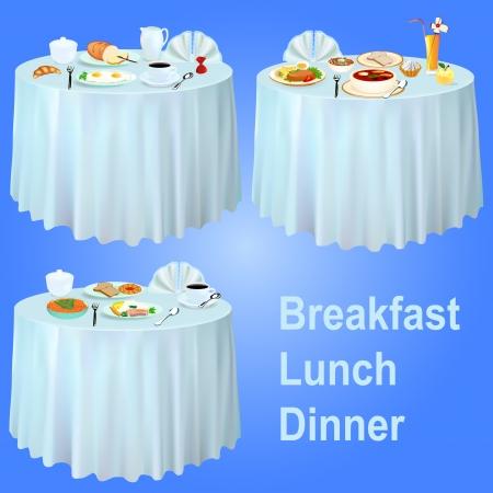 illustrazione colazione pranzo cena sul tavolo con una tovaglia