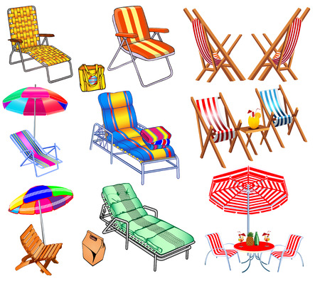 illustration of a set of chairs, sun beds and umbrellas for the beach. Vector