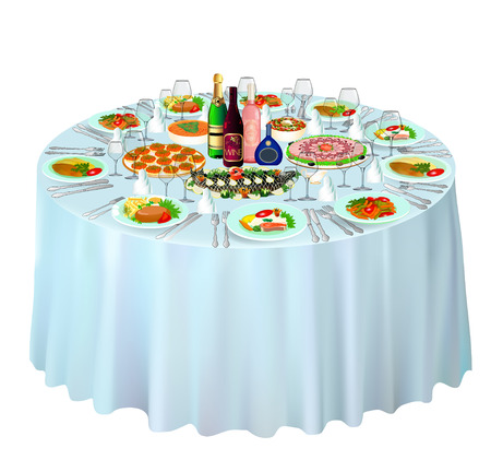 illustration gala buffet served on white Ilustracja