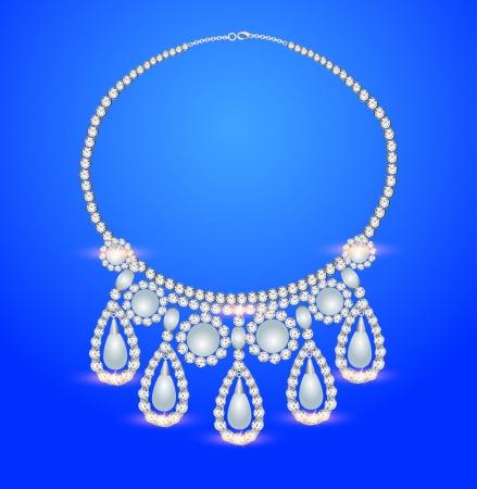 viso: ilustraci�n mujeres collar de perlas sobre un fondo azul
