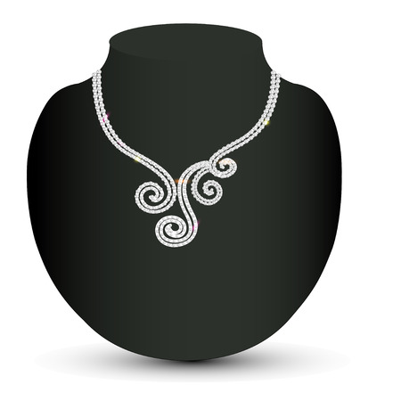 diamond necklace: illustration female necklace with a diamond spirals