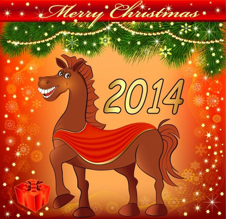illustration of a postcard with a Christmas fun with a gift horse Vector