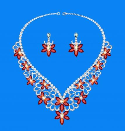 viso: ilustraci�n mujeres collar de piedras preciosas sobre un fondo azul