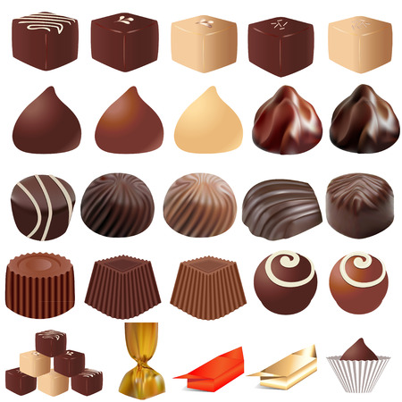 hard stuff: illustrations assortment of different sweets on a white background