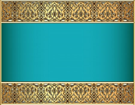 cartouche: illustration background with a strip with Celtic pattern of gold