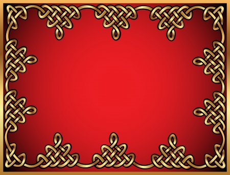 celtic background: illustration background with Celtic ornaments of gold on red