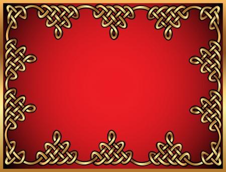 illustration background with Celtic ornaments of gold on red Vektorové ilustrace