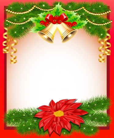 illustration background Christmas with flower bells and fir branches Vector