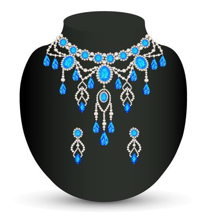 図ジュエリー女性ネックレス、青い宝石イヤリング  イラスト・ベクター素材