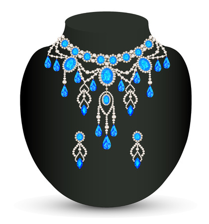 illustration jewelry female necklace and earrings with blue jewels Vector