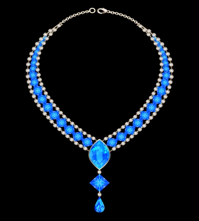 costume jewellery: illustration jewelry female necklace with blue jewels
