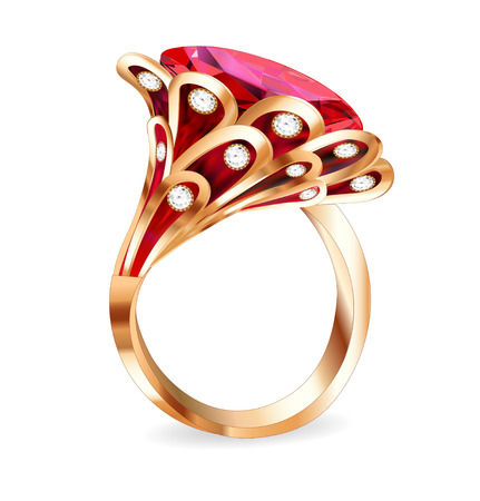 ring ruby: illustration of a piece of jewelry with a red ruby ring