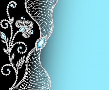 diamond jewelry: telaio sfondo illustrazione con gioielli di ornamenti Vettoriali
