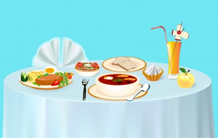 meat soup: illustration lunch on the table chicken soup and juice with dessert and Apple Illustration