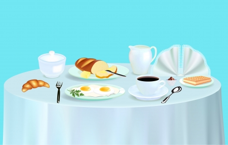 illustration Breakfast with scrambled eggs coffee and croissant Vector
